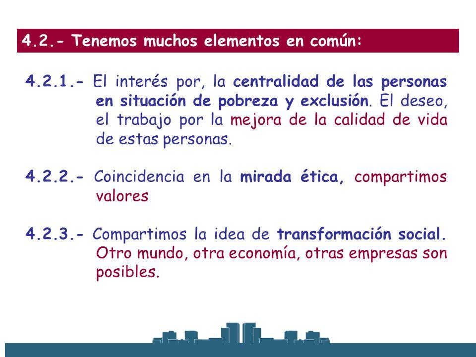 4.2.- Tenemos muchos elementos en común: 4.2.1.- El interés por, la centralidad de las personas en situación de pobreza y exclusión. El deseo, el trab