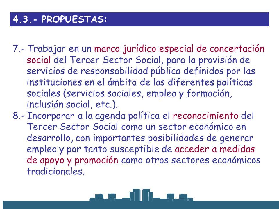 4.3.- PROPUESTAS: 7.- Trabajar en un marco jurídico especial de concertación social del Tercer Sector Social, para la provisión de servicios de respon