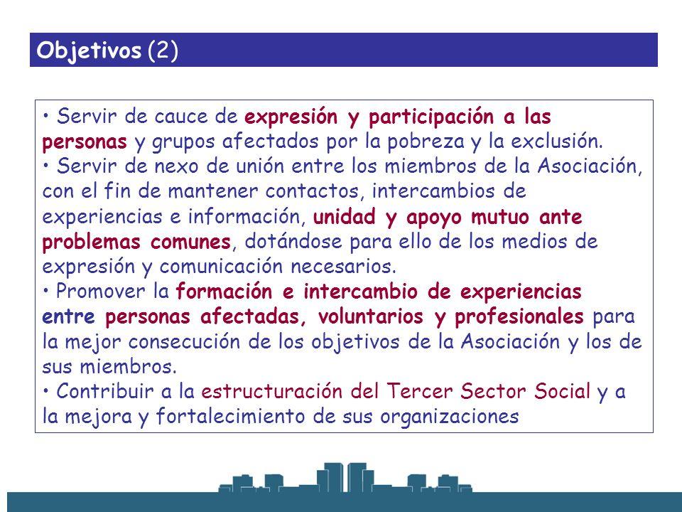 Objetivos (2) Servir de cauce de expresión y participación a las personas y grupos afectados por la pobreza y la exclusión. Servir de nexo de unión en