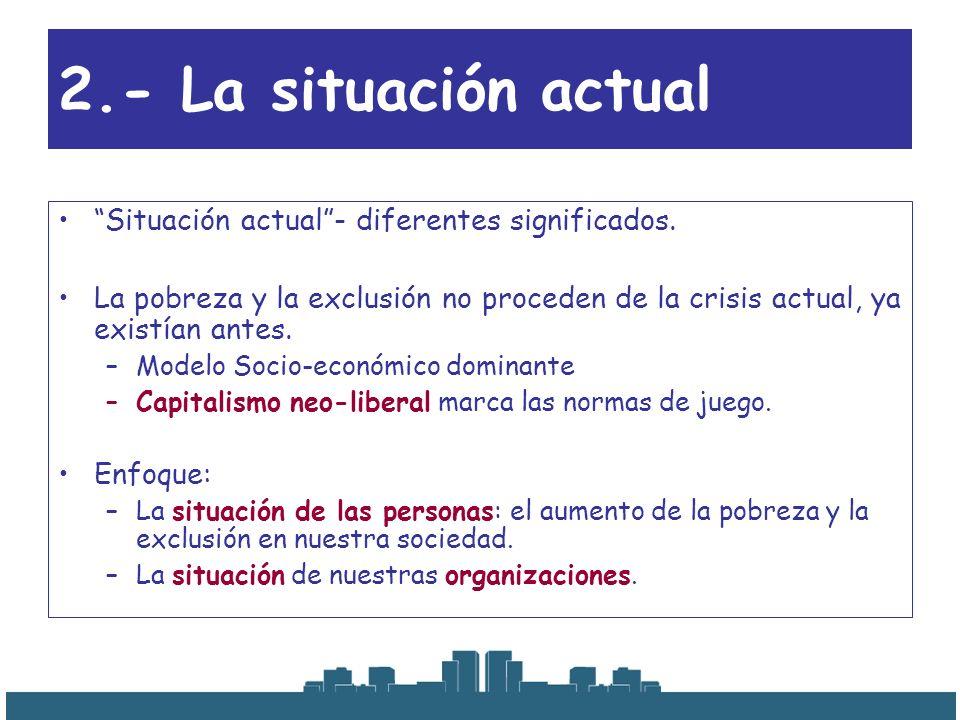 2.- La situación actual Situación actual- diferentes significados. La pobreza y la exclusión no proceden de la crisis actual, ya existían antes. –Mode