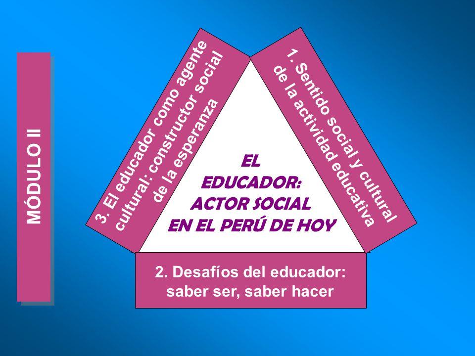 MÓDULO II EL EDUCADOR: ACTOR SOCIAL EN EL PERÚ DE HOY 3. El educador como agente cultural: constructor social de la esperanza 2. Desafíos del educador