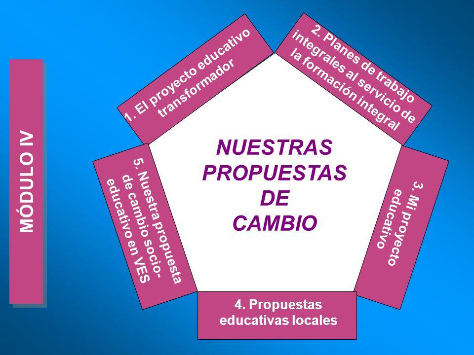 MÓDULO IV NUESTRAS PROPUESTAS DE CAMBIO 1. El proyecto educativo transformador 2. Planes de trabajo integrales al servicio de la formación integral 3.