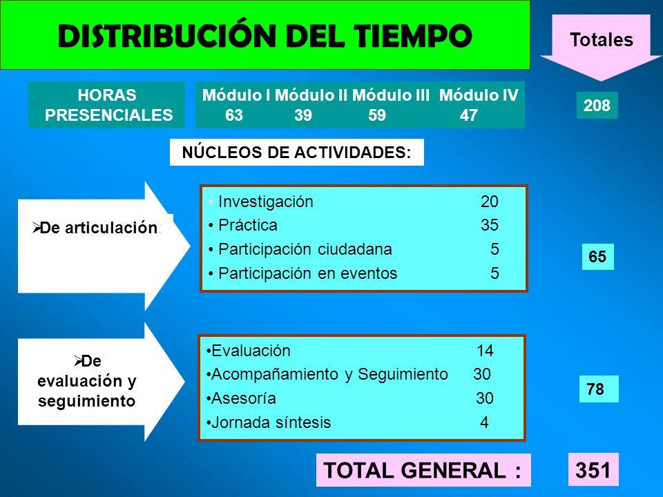 DISTRIBUCIÓN DEL TIEMPO HORAS PRESENCIALES Módulo I Módulo II Módulo III Módulo IV 63 39 59 47 208 NÚCLEOS DE ACTIVIDADES: Investigación 20 Práctica 3