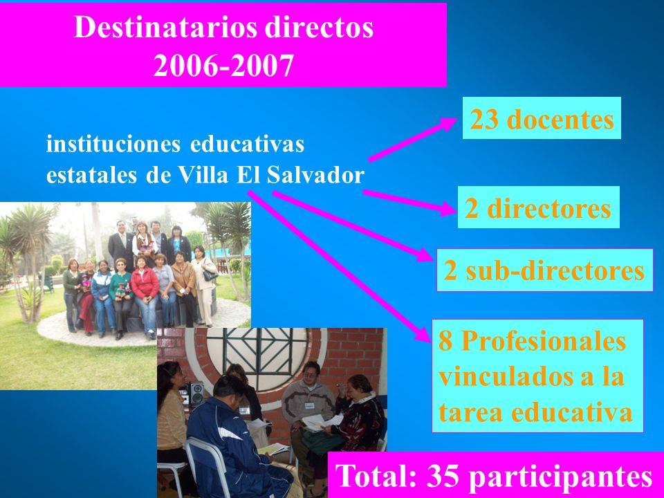 23 docentes 2 sub-directores 2 directores 8 Profesionales vinculados a la tarea educativa Destinatarios directos 2006-2007 instituciones educativas es