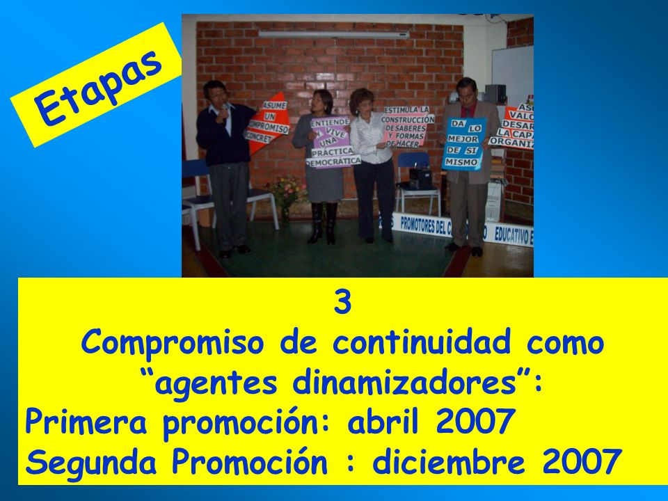 Etapas 3 Compromiso de continuidad como agentes dinamizadores: Primera promoción: abril 2007 Segunda Promoción : diciembre 2007