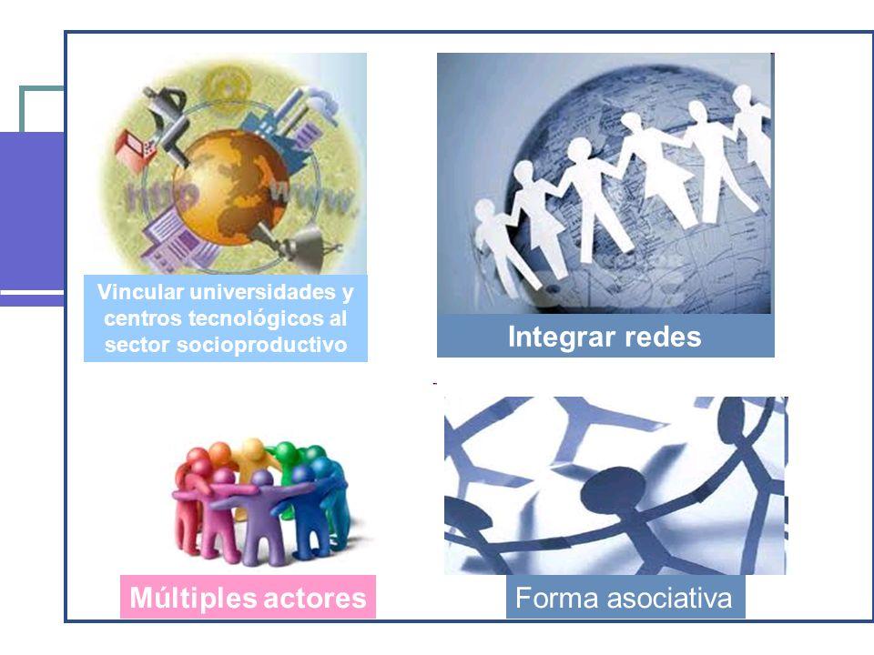 Vincular universidades y centros tecnológicos al sector socioproductivo Integrar redes Múltiples actoresForma asociativa