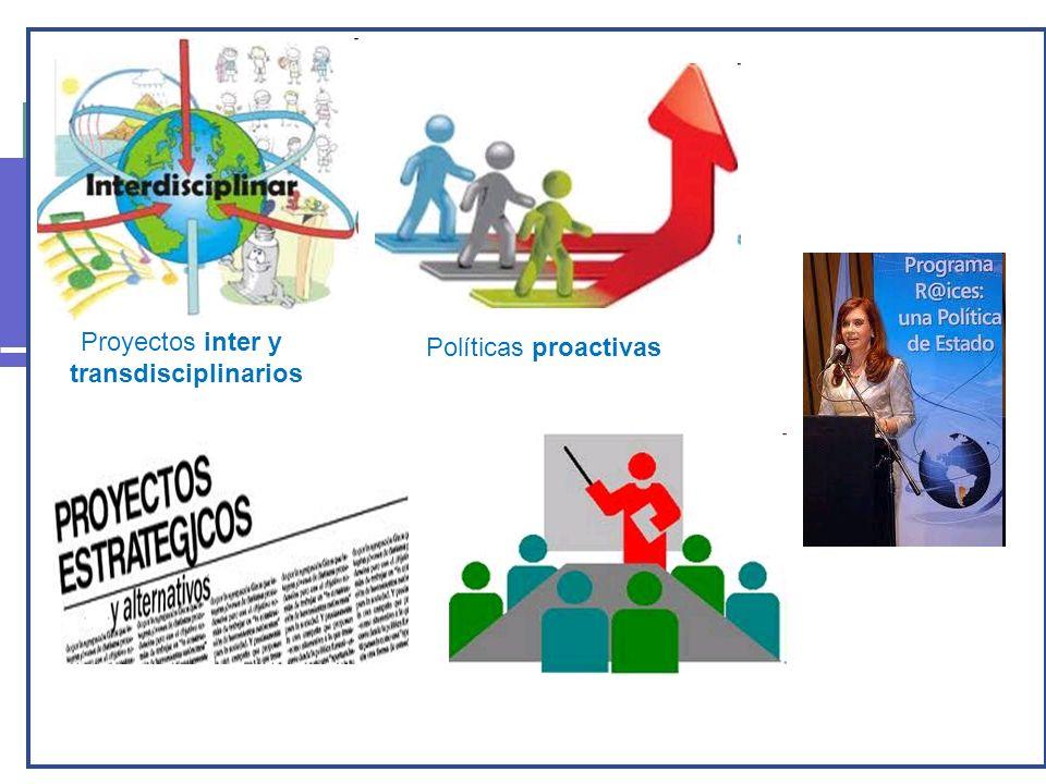 Proyectos inter y transdisciplinarios Políticas proactivas