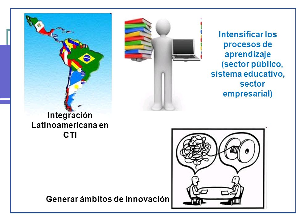 Principales líneas políticas Integración Latinoamericana en CTI Intensificar los procesos de aprendizaje (sector público, sistema educativo, sector empresarial) Generar ámbitos de innovación