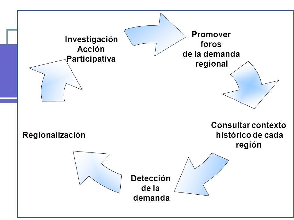 Promover foros de la demanda regional Consultar contexto histórico de cada región Detección de la demanda Regionalización Investigación Acción Partici