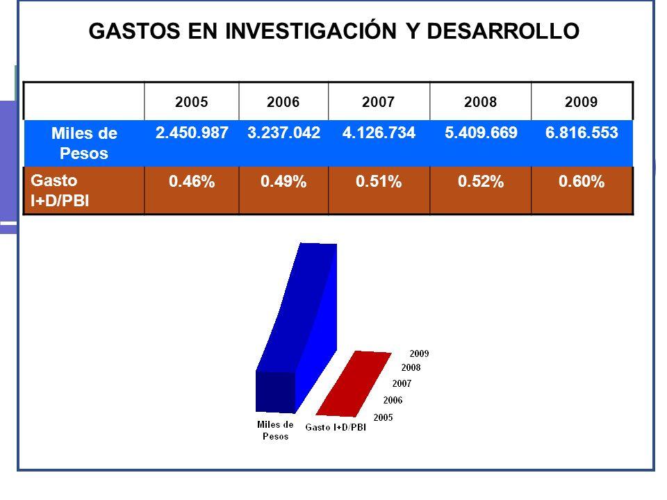 GASTOS EN INVESTIGACIÓN Y DESARROLLO 20052006200720082009 Miles de Pesos 2.450.9873.237.0424.126.7345.409.6696.816.553 Gasto I+D/PBI 0.46%0.49%0.51%0.
