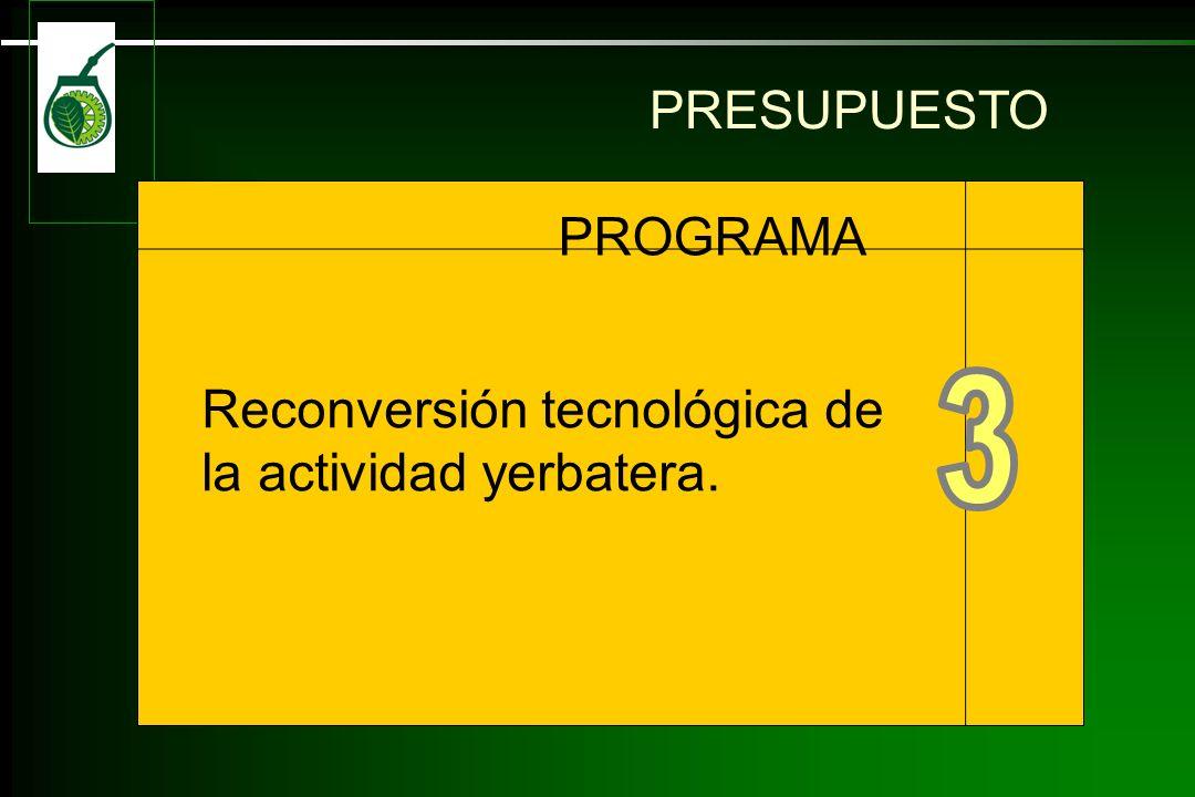 Reconversión tecnológica dela actividad yerbatera. PROGRAMA