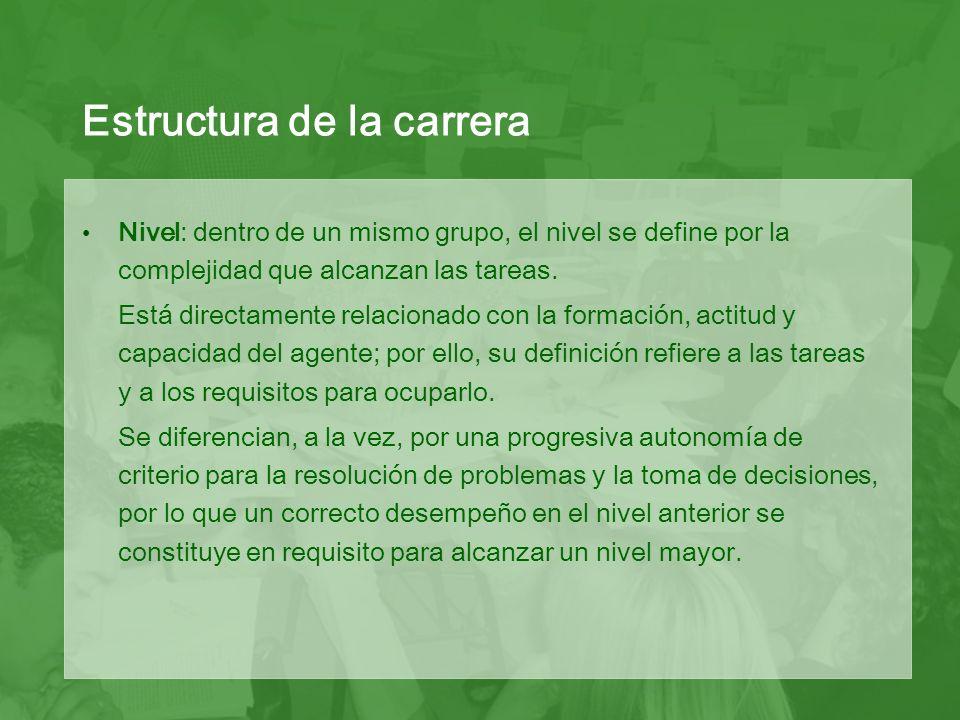 Nivel: dentro de un mismo grupo, el nivel se define por la complejidad que alcanzan las tareas.