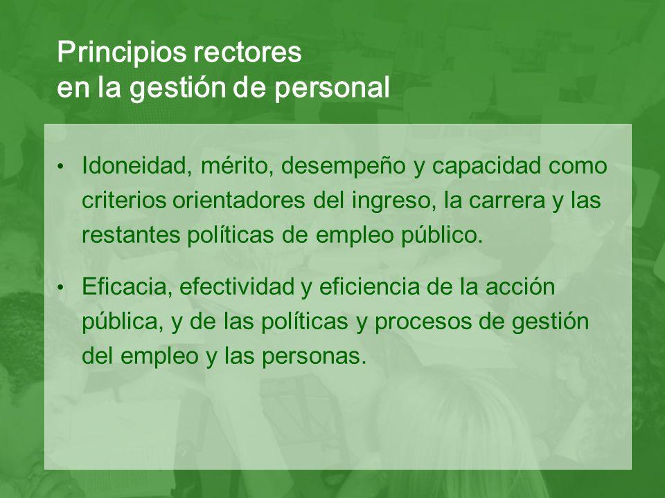 Idoneidad, mérito, desempeño y capacidad como criterios orientadores del ingreso, la carrera y las restantes políticas de empleo público.
