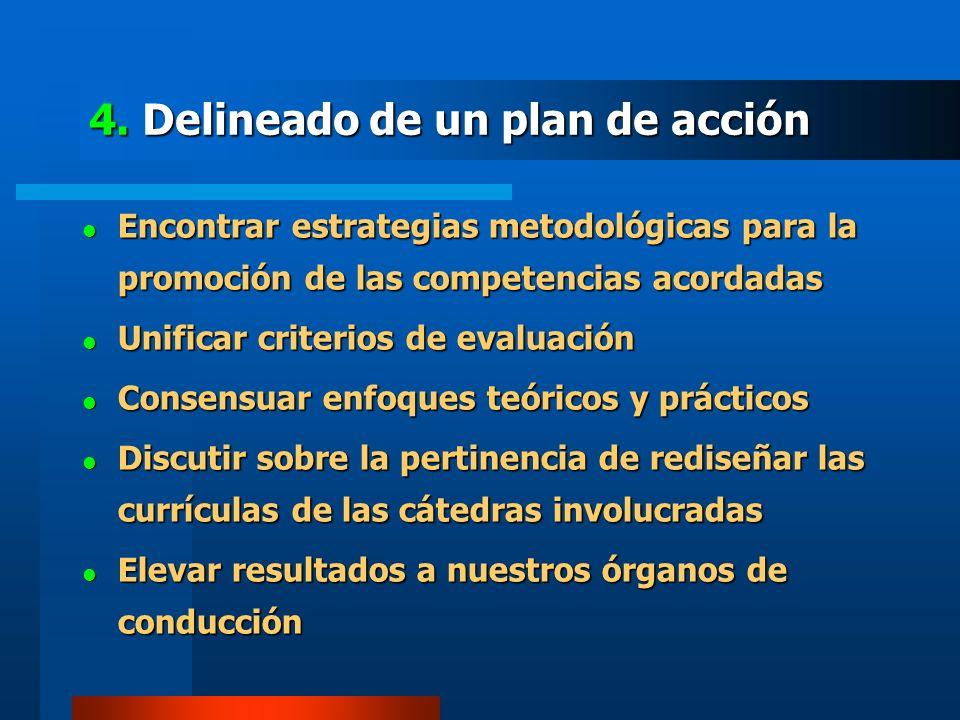 4. Delineado de un plan de acción Encontrar estrategias metodológicas para la promoción de las competencias acordadas Encontrar estrategias metodológi