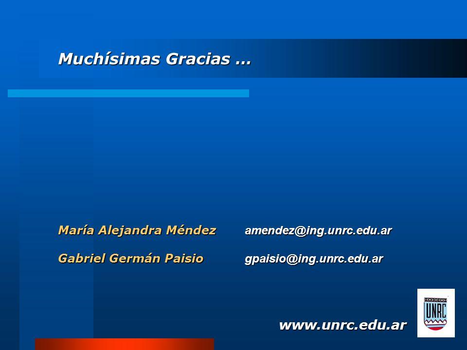 María Alejandra Méndez amendez@ing.unrc.edu.ar Gabriel Germán Paisio gpaisio@ing.unrc.edu.ar www.unrc.edu.ar Muchísimas Gracias …