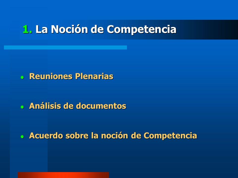 1. La Noción de Competencia Reuniones Plenarias Reuniones Plenarias Análisis de documentos Análisis de documentos Acuerdo sobre la noción de Competenc