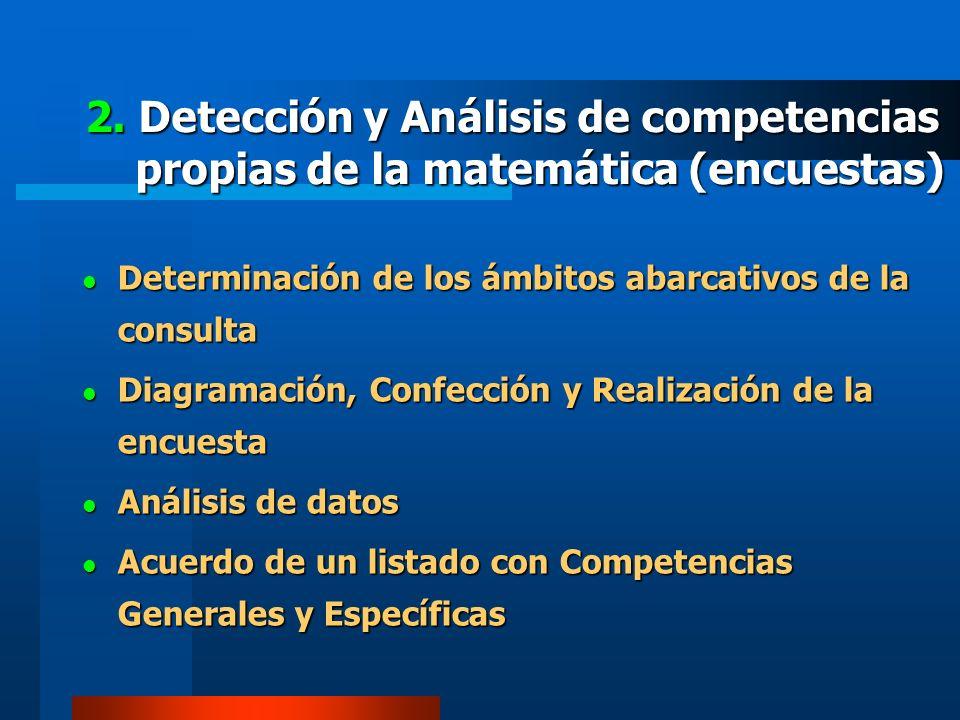 2. Detección y Análisis de competencias propias de la matemática (encuestas) Determinación de los ámbitos abarcativos de la consulta Determinación de