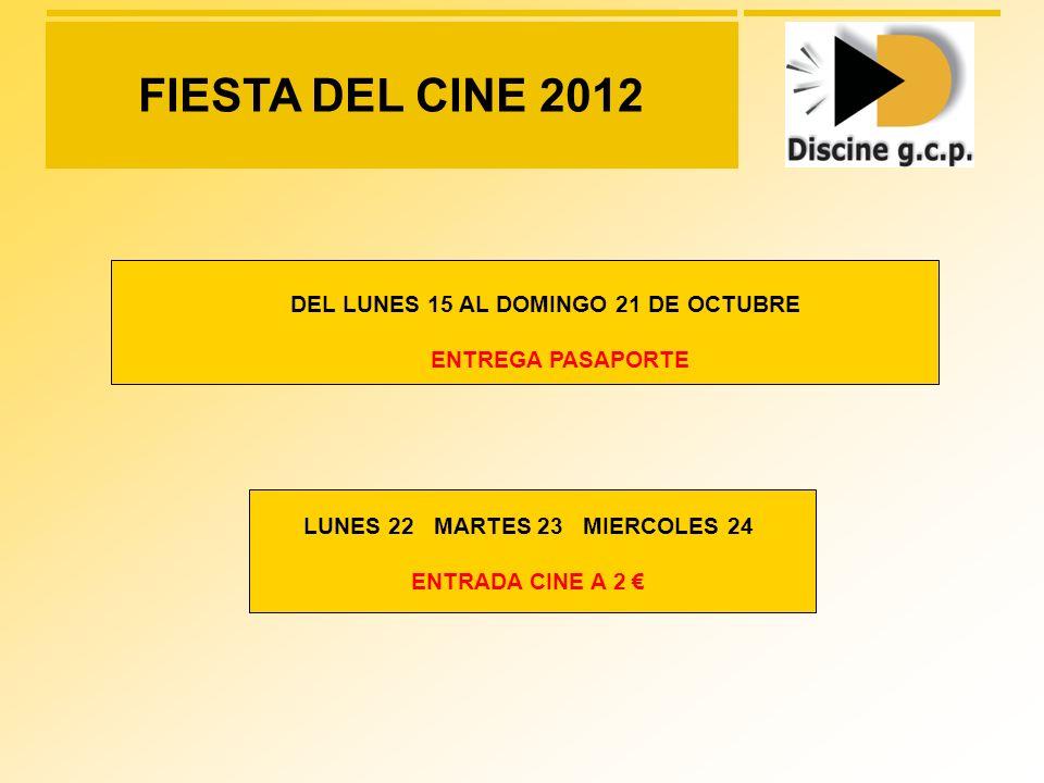 DATOS EVENTO FIESTA DEL CINE 2012 Valoración Coste Bruto CPM: Spot 20 = 75 / CPM Valoración Coste Neto Proyección: 50.625 (50% Descuento) Total = 101.250 Cobertura = 1.350.000 espectadores Producción: 4.000 TOTAL NETO CAMPAÑA: 54.625 CAMPAÑA: 1 SEMANA – 1076 SALAS DIGITALES 19 al 25 de Octubre del 2012