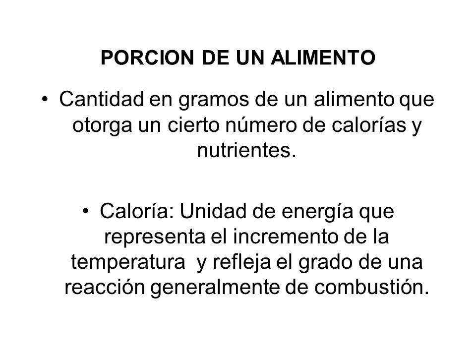 PORCION DE UN ALIMENTO Cantidad en gramos de un alimento que otorga un cierto número de calorías y nutrientes. Caloría: Unidad de energía que represen
