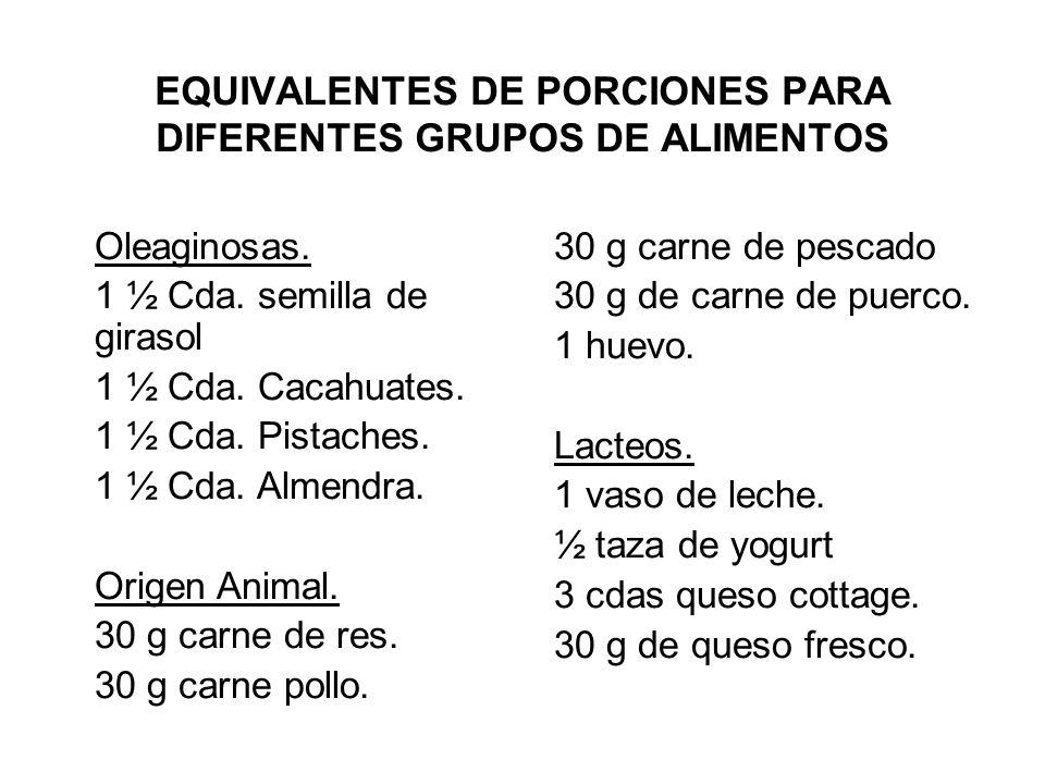 EQUIVALENTES DE PORCIONES PARA DIFERENTES GRUPOS DE ALIMENTOS Oleaginosas. 1 ½ Cda. semilla de girasol 1 ½ Cda. Cacahuates. 1 ½ Cda. Pistaches. 1 ½ Cd