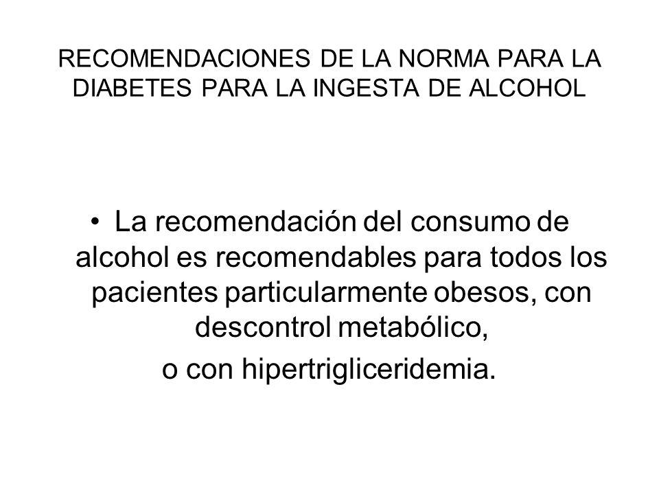 RECOMENDACIONES DE LA NORMA PARA LA DIABETES PARA LA INGESTA DE ALCOHOL La recomendación del consumo de alcohol es recomendables para todos los pacien