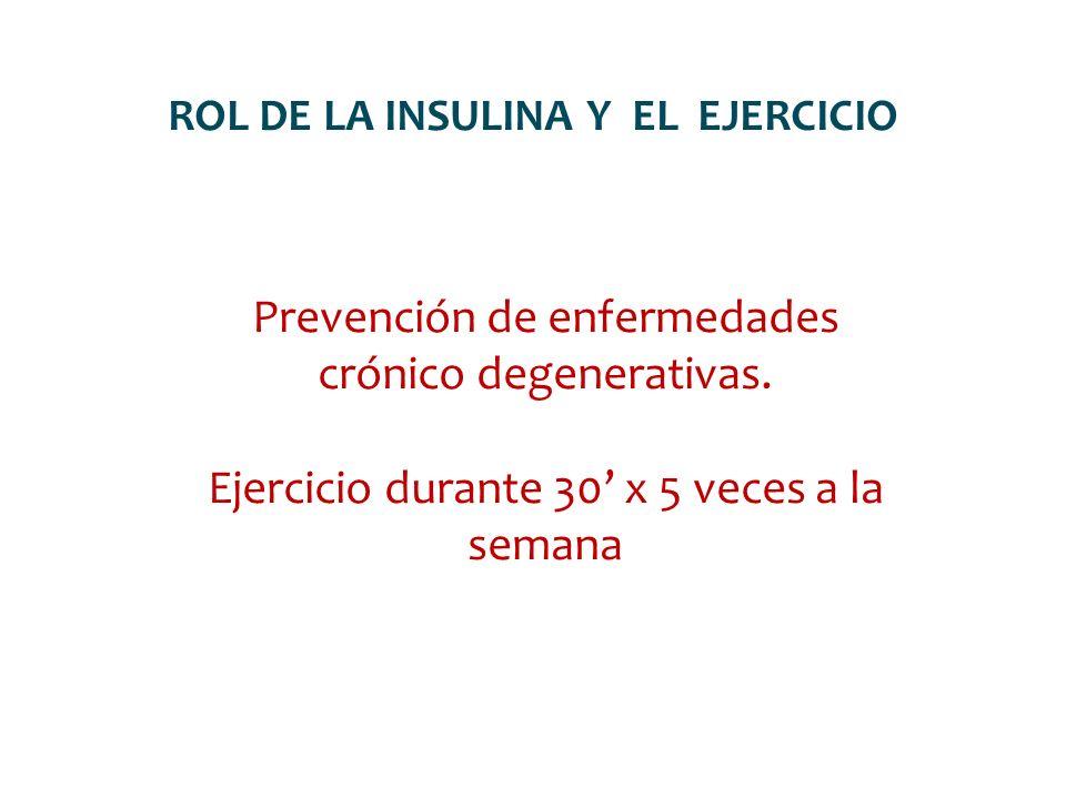 ROL DE LA INSULINA Y EL EJERCICIO Prevención de enfermedades crónico degenerativas. Ejercicio durante 30 x 5 veces a la semana