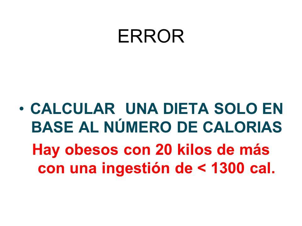 ERROR CALCULAR UNA DIETA SOLO EN BASE AL NÚMERO DE CALORIAS Hay obesos con 20 kilos de más con una ingestión de < 1300 cal.