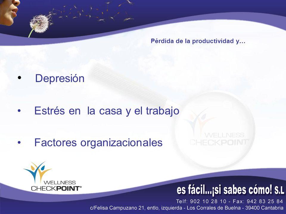 Pérdida de la productividad y… Depresión Estrés en la casa y el trabajo Factores organizacionales