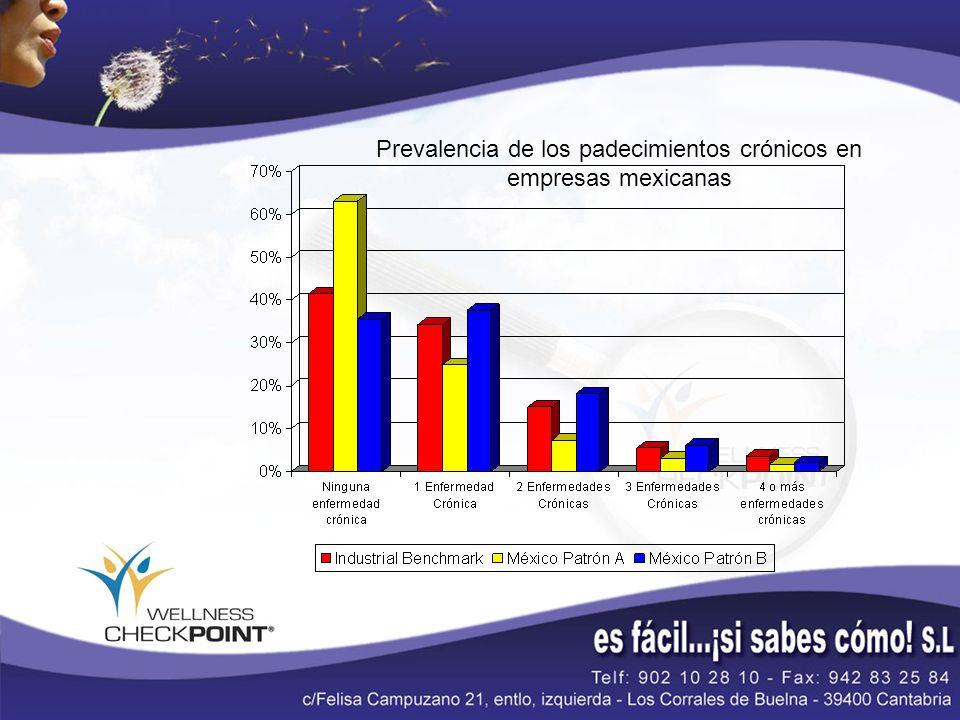 Pérdida en productividad por trabajadores con enfermedades crónicas Fuente: Wellness Checkpoint Industrial Sector Benchmark 2005