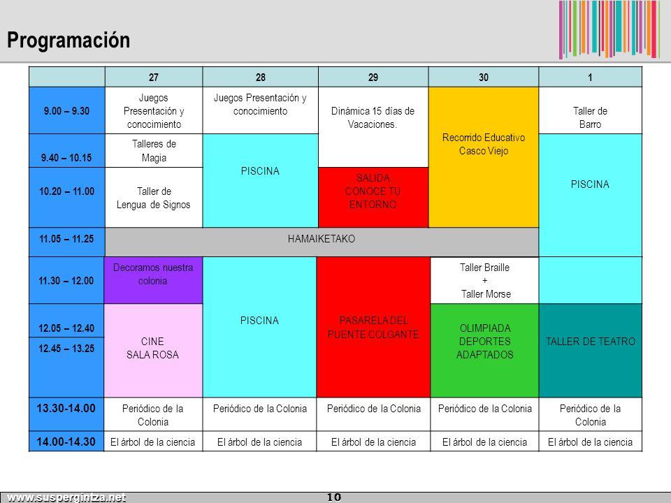 Programación www.suspergintza.net 10 272829301 9.00 – 9.30 Juegos Presentación y conocimiento Dinámica 15 días de Vacaciones. Recorrido Educativo Casc
