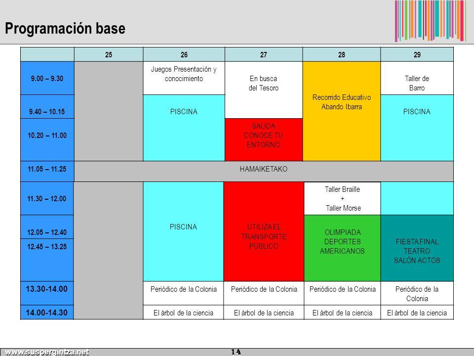 Programación base www.suspergintza.net 14 2526272829 9.00 – 9.30 Juegos Presentación y conocimientoEn busca del Tesoro Recorrido Educativo Abando Ibar