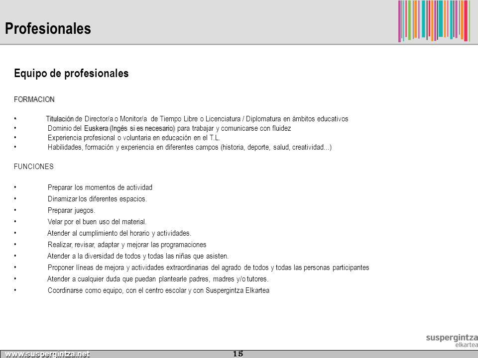 Profesionales www.suspergintza.net 15 Equipo de profesionalesFORMACION TitulaciónTitulación de Director/a o Monitor/a de Tiempo Libre o Licenciatura /