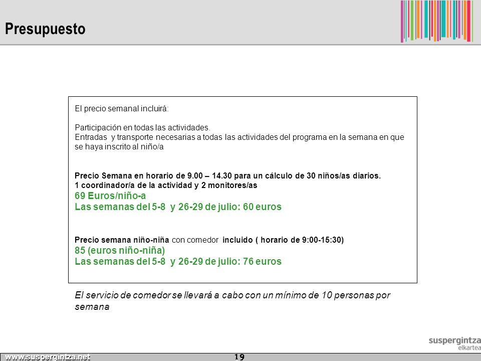 Presupuesto www.suspergintza.net 19 El precio semanal incluirá: Participación en todas las actividades. Entradas y transporte necesarias a todas las a