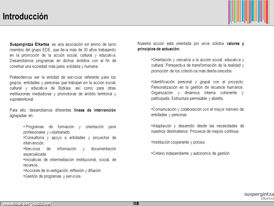 Programación base www.suspergintza.net 13 1819202122 9.00 – 9.30 Juegos Presentación y conocimiento Mural medioambiental Recorrido Educativo Parque de Doña Casilda Taller de Barro 9.40 – 10.15 Talleres de MagiaPSICINAPISCINA 10.20 – 11.00 Taller de Lengua de Signos SALIDA CONOCE TU ENTORNO 11.05 – 11.25 HAMAIKETAKO 11.30 – 12.00 Juegos Cooperativos PISCINAMUSEO VASCO Taller Braille + Taller Morse 12.05 – 12.40 CINE SALA ROSA OLIMPIADA DEPORTES AFRICANOS TALLER DE TEATRO 12.45 – 13.25 13.30-14.00 Periódico de la Colonia 14.00-14.30 El árbol de la ciencia