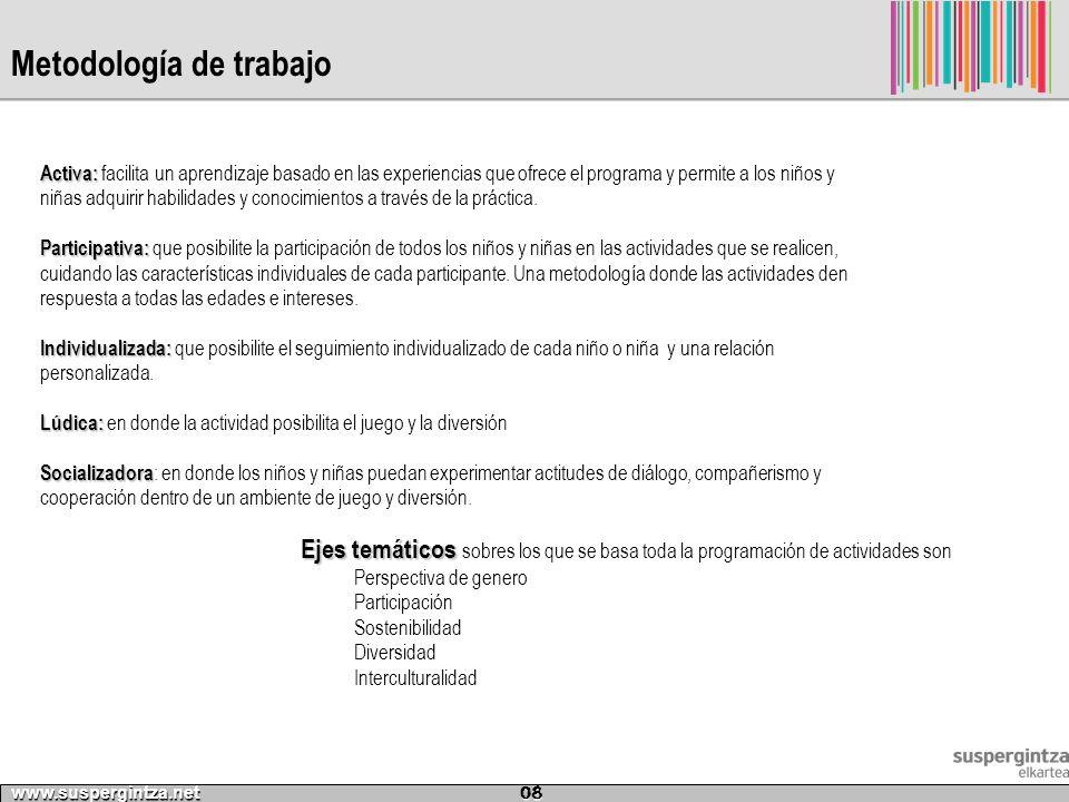 Metodología de trabajo www.suspergintza.net 08 Activa: Activa: facilita un aprendizaje basado en las experiencias que ofrece el programa y permite a l