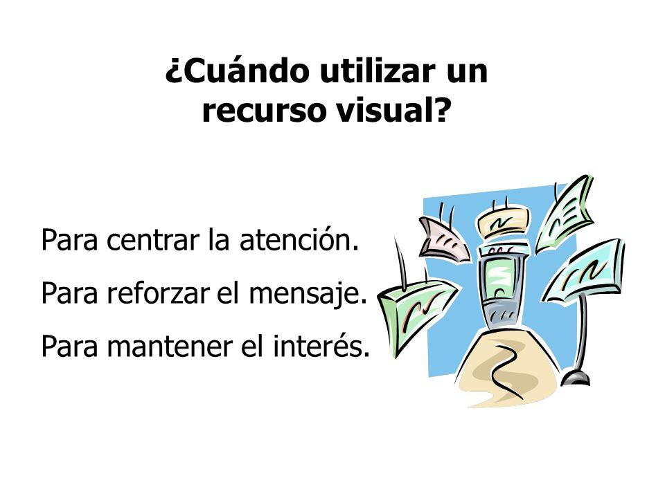 ¿Cuándo utilizar un recurso visual? Para centrar la atención. Para reforzar el mensaje. Para mantener el interés.