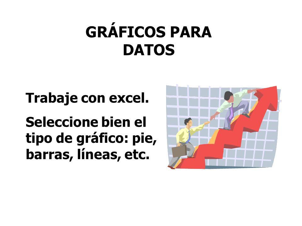 GRÁFICOS PARA DATOS Trabaje con excel. Seleccione bien el tipo de gráfico: pie, barras, líneas, etc.