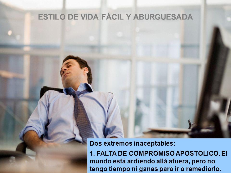 ESTILO DE VIDA FÁCIL Y ABURGUESADA Dos extremos inaceptables: 1.