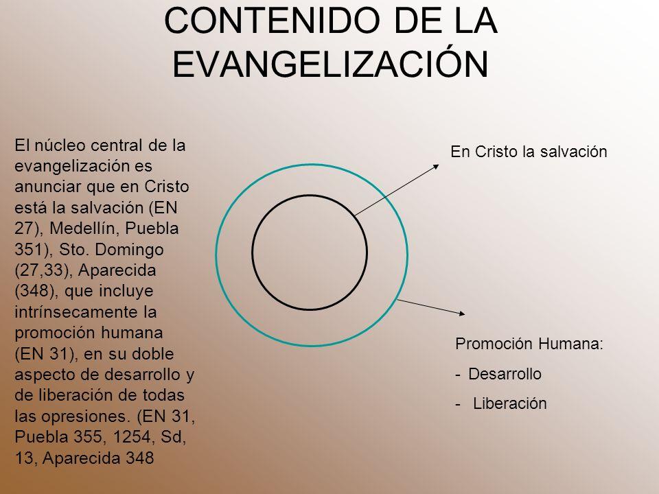 CONTENIDO DE LA EVANGELIZACIÓN Promoción Humana: -Desarrollo - Liberación En Cristo la salvación El núcleo central de la evangelización es anunciar que en Cristo está la salvación (EN 27), Medellín, Puebla 351), Sto.