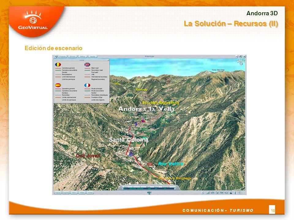Andorra 3D La Solución – Recursos (II) C O M U N I C A C I Ó N - T U R I S M O 10 Edición de escenario