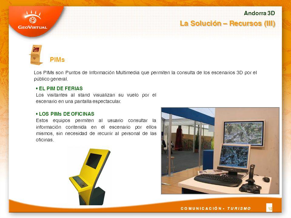 Los PIMs son Puntos de Información Multimedia que permiten la consulta de los escenarios 3D por el público general. PIMs Andorra 3D La Solución – Recu