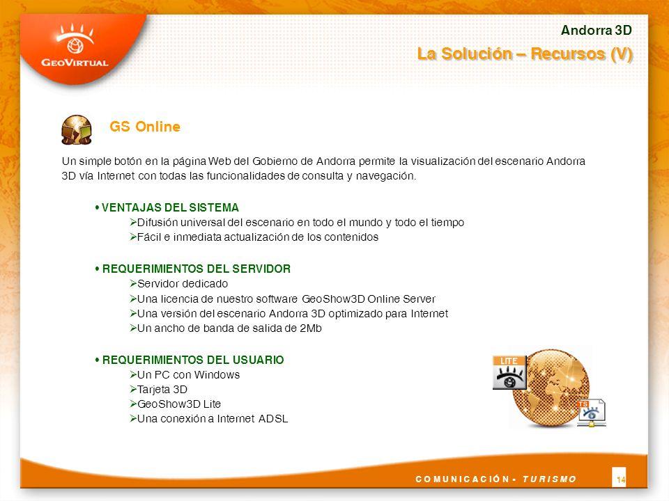 Un simple botón en la página Web del Gobierno de Andorra permite la visualización del escenario Andorra 3D vía Internet con todas las funcionalidades