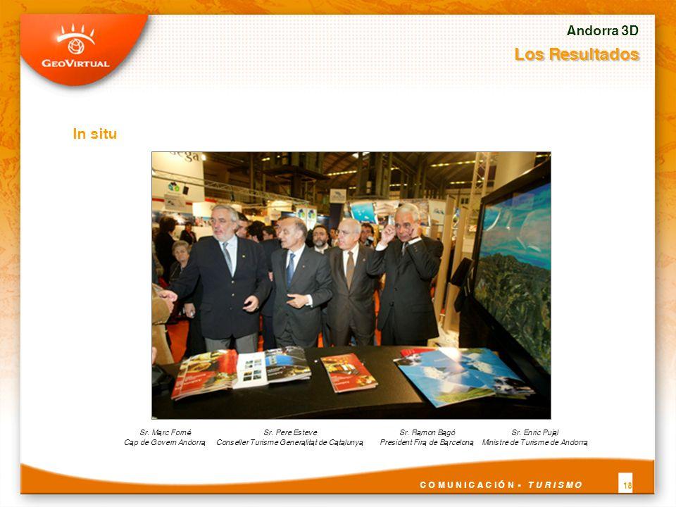 In situ Andorra 3D Los Resultados C O M U N I C A C I Ó N - T U R I S M O 18 Sr. Marc Forné Cap de Govern Andorra Sr. Enric Pujal Ministre de Turisme