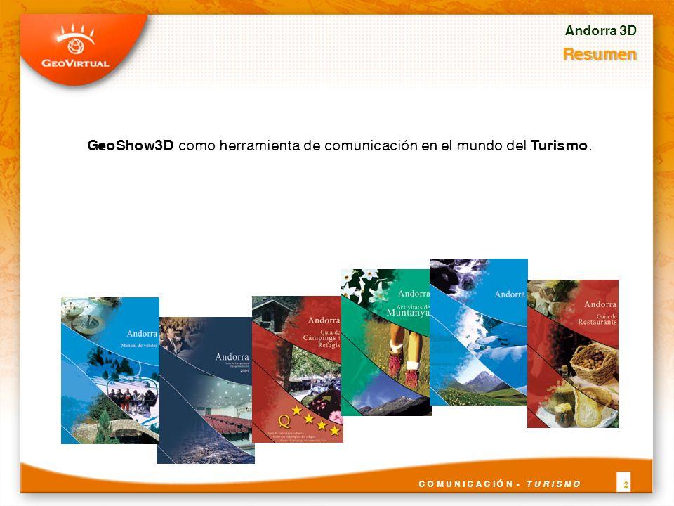 Andorra 3D Resumen GeoShow3D como herramienta de comunicación en el mundo del Turismo. 2 C O M U N I C A C I Ó N - T U R I S M O