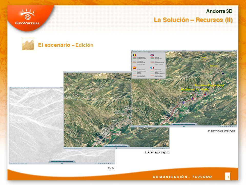 El escenario – Edición Andorra 3D La Solución – Recursos (II) C O M U N I C A C I Ó N - T U R I S M O 9 MDTEscenario vacío Escenario editado