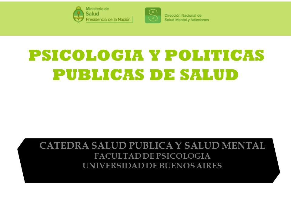 PSICOLOGIA Y POLITICAS PUBLICAS DE SALUD CATEDRA SALUD PUBLICA Y SALUD MENTAL FACULTAD DE PSICOLOGIA UNIVERSIDAD DE BUENOS AIRES