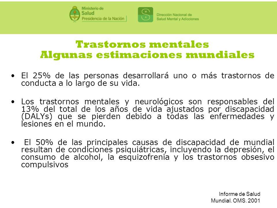 Informe de Salud Mundial. OMS. 2001 Trastornos mentales Algunas estimaciones mundiales El 25% de las personas desarrollará uno o más trastornos de con