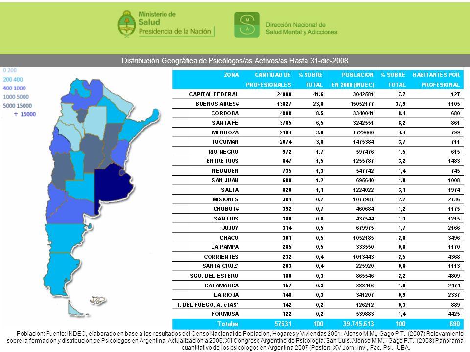 Distribución Geográfica de Psicólogos/as Activos/as Hasta 31-dic-2008 Población: Fuente: INDEC, elaborado en base a los resultados del Censo Nacional
