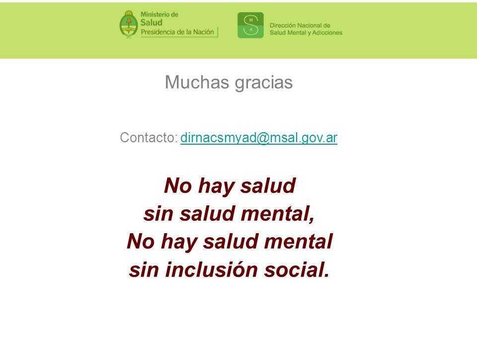 Muchas gracias Contacto: dirnacsmyad@msal.gov.ardirnacsmyad@msal.gov.ar No hay salud sin salud mental, No hay salud mental sin inclusión social.