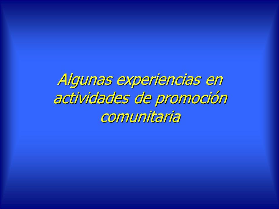 Algunas experiencias en actividades de promoción comunitaria
